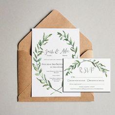 Olive leaf Wedding Invitations by RatherLovelyStuff on Etsy