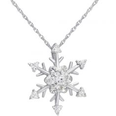 Snowflake Crystal Pendant-Necklace made with White Swarovski Elements in Sterling Silver. White Crystal Snowflake Pendant-Necklace made with Swarovski Elements Set in Sterling Silver on an 18 inch Sterling Silver Chain. Made with Swarovski Crystal .925 Sterling Silver Snowflake measures 3/4 inch 18 inch chain