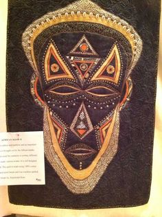 African Mask 2 by Rajwinder Kaur. 2013 London International Quilt Show, Out of Africa Exhibit, posted at Flare Fabrics African Theme, African Masks, African Art, African Quilts, African Fabric, Cool Artwork, Amazing Artwork, International Quilt Festival, Out Of Africa