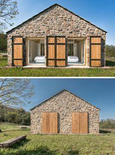 Both bedrooms also open up to the grassy area at the end of this contemporary stone cottage, and due to the position of the cottage, they receive the bright morning light.