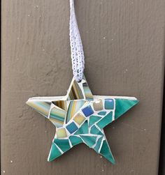 Beachy green star mosaic ornament - Glass Needle Works
