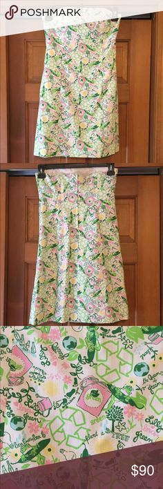 💥 PRICE DROP Lilly Pulitzer Strapless Dress Only worn once! A Lilly Pulitzer Original in Queen Green! The dress features wiring in the bust as well as a band of gel/rubber around the top to keep the dress in place! 👗 The back of the dress has a zipper with a hook and eye closure. Lilly Pulitzer Dresses Strapless