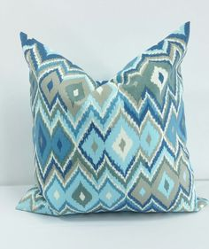 Blue Ikat Pillow cover. Blue. Indoor. by TwistedBobbinDesigns
