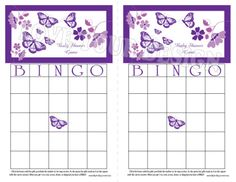 Purple Butterfly BINGO game for a Baby Shower to print out on your own computer printer.  You get one file for INSTANT DOWNLOAD 1. Bingo baby shower game DIGITAL PDF FILE  IT IS SO EASY TO PRINT THE FILE Open the file with Adobe Reader on your computer. The file prints out two game cards on one 8.5 x 11 sheet of paper. Just cut in half on the dashed line for instant game cards. The finished game card is 8.5 x 5.5 inches.  Print out as many bingo cards s as you need for your special…