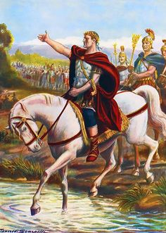It all starts here. The end of the Republic of Rome. Julius Caesar crossing the Rubicon History Images, History Facts, Art History, Ancient Rome, Ancient History, Crossing The Rubicon, Gaius Julius Caesar, Rome Antique, Roman Legion