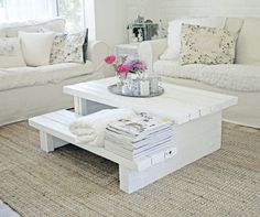 Coffee table made of the porch stairs... very clever and cute for a cottage style