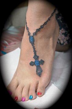 foot tattoo crosses | Blue cross foot tattoo**** | Cool tattoo ideas