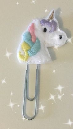 Felt Unicorn Paper Clip for Planner / Order Book by CharliesStar