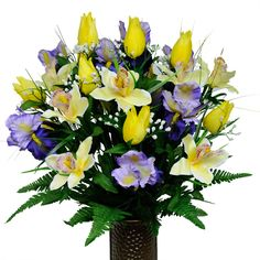 Stay-In-The-Vase Artificial Cemetery Flowers for Outdoor-Grave-Decorations - Yellow-Tulips and Purple Iris Mix Flowers, Non-Bleed Colors Design Yellow Orchid, Yellow Tulips, Purple Iris, Purple Roses, Grave Flowers, Cemetery Flowers, Funeral Flowers, Silk Flowers, Graveside Decorations