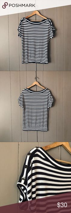 Talbots Navy & White Striped Boat Neck Sweater Super cute short sleeve sweater top in excellent condition. Buttons along top of shoulder. Offers are welcome. Bateau Neckline, Cute Shorts, Boat Neck, Fashion Tips, Fashion Design, Fashion Trends, Talbots, Navy And White, Buttons