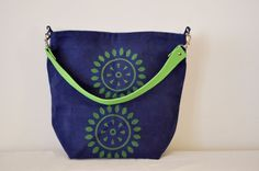 the tote bag in indigo blue with apple green by heyBoom on Etsy, $35.00