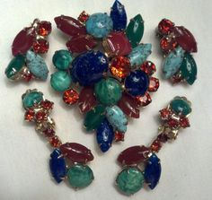 Vintage Juliana D E Peacock Multi Colored Floral Rhinestone Brooch Earring Set | eBay