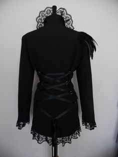 ladies black jacket blazer long riding gothic goth corset tailcoat burlesque cutaway Feather Epaulette US size  10 12 14
