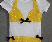 @Cathy Kazibut...Alexis totally needs this Yellow Polka Dot Bikini Onesie! :)