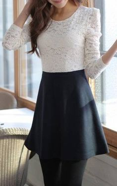 very pretty silhouette with the lacey top and a-line skirt Skater skirt winter, must have