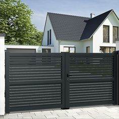 Use our standard or bespoke configurator to choose your EMALU sliding gate BRAGA. Mister Gates Direct is UK's number one for aluminium gates and gate automation. Metal Driveway Gates, Modern Driveway, Electric Driveway Gates, Wood Gates, Driveway Repair, Metal Gates, House Main Gates Design, Door Gate Design, House Front Gate