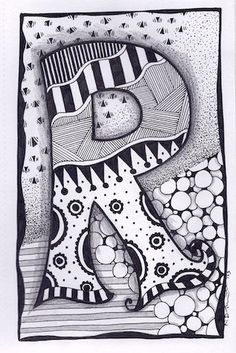 Zentangle, Letter R, Zebra Letters, name, bunting, alphabet. £3.50, via Etsy.
