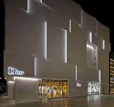 Dior Shop Facade in Miami: Commercial Architecture in Florida, USA – design by BarbaritoBancel architects - American Office Interior, Retail Architecture, Images Facade Lighting, Exterior Lighting, Lighting Design, Mall Facade, Retail Facade, Architecture Art Nouveau, Facade Architecture, Shop Front Design, Store Design