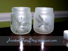 DIY- frosted glass technique- baby food jars- decorations. This could be used a variety of ways, especially for table decorations at weddings or parties.