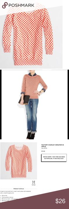 J.crew factory charley sweater in apple print Practically brand new J. Crew Sweaters
