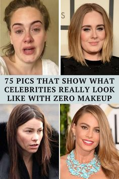 While some celebrities look great wearing makeup, others look better without it. Check out these 75 images of famous people with and without makeup.