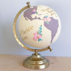 """Painted World Globe – Custom Wedding Guestbook or Nursery Hand Painted and Lettered Floral 8 """"diameter Globe - Decoration For Home Painted Globe, Hand Painted, New Job Congratulations, Globe Art, Globe Decor, Map Globe, World Globes, Project Nursery, Baby Decor"""