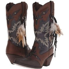 Durango Crush 12 w/ Feather (Brown/Black) Cowboy Boots ($170) ❤ liked on…