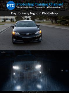 Turn a daytime photograph into a rainy night scene in Photoshop.