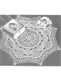 The attractive arrangement of crocheted braid and lace in this piece makes it a beautiful doily.Doily size: 17 inches (appx)Skill level: Intermediate