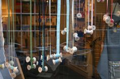 Ribbon spools window display