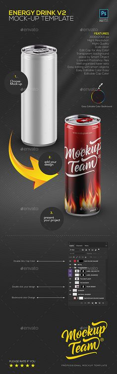 Energy Drink v2 Mock-up Template