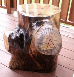 """One of my Summer projects.  Made from an old and aged tree trunk, we sanded it down, treated it with several coats of polyurethane and added 1/4"""" legs on the bottom for good air flow.  We use ours as a side table on our covered deck, but this could easily transition into home decor use for those who like such rustic and unique pieces."""