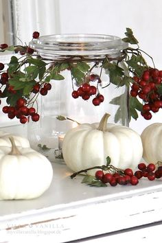 Thanksgiving White Pumpkin Decor with cranberries--start w/ orange pumpkins for Halloween, then paint white and add berries, then remove pumpkins and add pinecones for Christmas--easy changes for the whole season