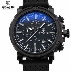SKONE Brand 6 Hands 24 Hours Function Silicone Sport Watches Men Date Chronograph Quartz-watch Hours Casual Relogio Masculino