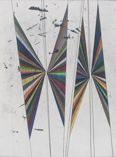 Mark Grotjahn /   Untitled (Coloured Butterfly White Background Four Wings)   / 2004  / Coloured pencil on paper