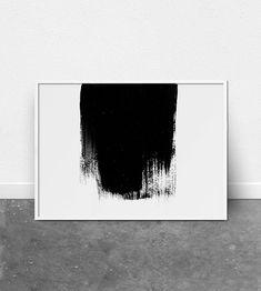 Minimalist art, Abstract wall art, paint stroke print, modern art, minimal wall art, black and white, Nordic art, Scandinavian art, Modern