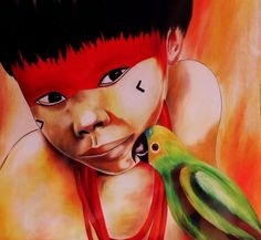 brazilian little indian and his parrot - oil on canvas - 2010
