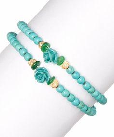 Love this Turquoise Magnesite Beads & Roses Stretch Bracelet by Pavcus Designs on #zulily! #zulilyfinds
