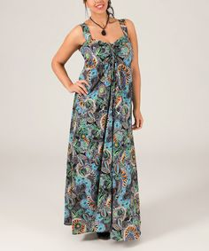 Another great find on #zulily! Black & Blue Abstract Maxi Dress - Plus #zulilyfinds