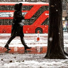 Colours and snow in London  . . . #streetphotography #streetphoto #streetstyle #street #london #londonphoto #londonlife #citylife #cityscape #candid #color #canon #capture #people #photography #photo #photooftheday #picoftheday #moment #snow #winter #londonbus #tree #walking #life #beautiful #season #SPiCollective #reflections #red