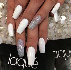 Long nails / white / silver / cute / nail design / new / 2014