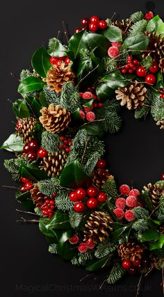 A luxurious blend of seasonal foilage dres… Happy Hedgerow Christmas Door Wreath. A luxurious blend of seasonal foilage dressed with. Christmas Advent Wreath, Magical Christmas, Winter Christmas, Christmas Time, Christmas Crafts, Christmas Decorations, Christmas Island, Christmas Ideas, Christmas Lights