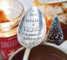 Have Yourself A Merry Little Christmas- Hand Stamped Vintage Serving Spoon