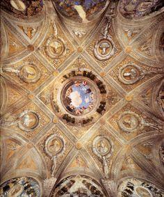 Andrea Mantegna Camera degli sposi, volta al centro oculo, intorno busti dei cesari