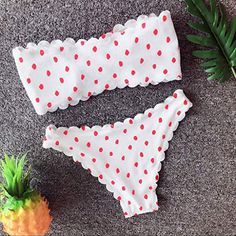 4a27742690f38 Women's 2 Pieces Bandeau Bikini Swimsuits Wave Polka Dot Off Shoulder  Push-Up Padded High Waist Bathing Suit,