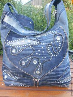 """Купить Джинсовая сумка """" Виктория"""" - синий, абстрактный, повседневная сумка, стразы:"""