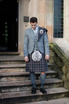 Another example of how to style our exclusive Lomond Mist tartan. Paired here with the Lomond tweed jacket for a contemporary feel, with the addition of a plaid over one shoulder to inject some more tartan into the outfit!