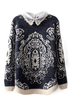 ROMWE | Dual-tone Totem Knitted Jumper, The Latest Street Fashion