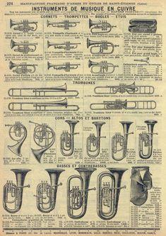 Brass instruments advert, catalogue page Brass Musical Instruments, Brass Instrument, Trumpet Instrument, Partituras Trombone, Sousaphone, Trumpet Music, Jazz Poster, Music Machine, Music Illustration