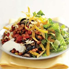 "new school taco salad ""haystacks"" Budget Meals, Budget Recipes, Recipe Search, Vegetarian Recipes, Yummy Recipes, Dinner Recipes, Skinny Recipes, Soup And Salad, Salad"